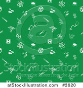 Vector Illustration of a Green Seamless Medical Background Pattern with White Icons by AtStockIllustration