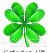 Vector Illustration of a Green St Patricks Day Four Leaf Clover by AtStockIllustration