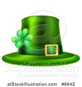 Vector Illustration of a Green St Patricks Day Leprechaun Hat with a Shamrock by AtStockIllustration