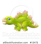 Vector Illustration of a Green Stegosaur Dinosaur by AtStockIllustration