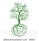 Vector Illustration of a Green Tree with Brain Roots and Bare Branches, Symbolizing Memory Loss by AtStockIllustration