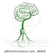 Vector Illustration of a Green Tree with Electric Light Bulb Roots and a Brain Canopy by AtStockIllustration