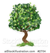 Vector Illustration of a Green Tree with Grass at the Base by AtStockIllustration