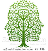 Vector Illustration of a Green Tree with Profiled Faces in the Canopy by AtStockIllustration