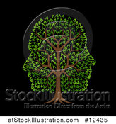 Vector Illustration of a Green Tree with Profiled Faces in the Canopy, on Black by AtStockIllustration