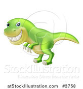 Vector Illustration of a Green Tyrannosaurus Rex Dinosaur Grinning by AtStockIllustration