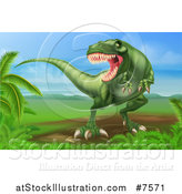 Vector Illustration of a Green Vicious Tyrannosaurus Rex Dinosaur Roaring in a Landscape by AtStockIllustration