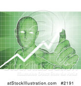 Vector Illustration of a Green Virtual Man Pushing Buttons on an Interface by AtStockIllustration