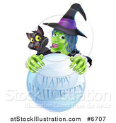 Vector Illustration of a Green Witch and Black Cat Behind a Happy Halloween Crystal Ball by AtStockIllustration