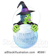 Vector Illustration of a Green Witch Behind a Happy Halloween Crystal Ball by AtStockIllustration