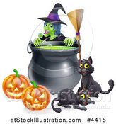 Vector Illustration of a Green Witch over a Cauldron with Black Cats a Broomstick and Jackolanterns by AtStockIllustration