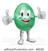 Vector Illustration of a Green Zig Zag Easter Egg Mascot Holding Two Thumbs up by AtStockIllustration