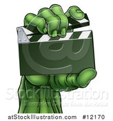 Vector Illustration of a Green Zombie Hand Holding a Clapperboard by AtStockIllustration