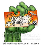 Vector Illustration of a Green Zombie Hand Holding a Happy Halloween Card by AtStockIllustration