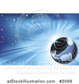 Vector Illustration of a Grid Globe Against a Blue Sunburst Sky by AtStockIllustration