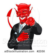 Vector Illustration of a Grinning Businessman Devil Pointing Outwards by AtStockIllustration