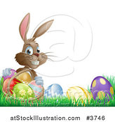 Vector Illustration of a Grinning Easter Bunny with Eggs and a Basket in Grass by AtStockIllustration