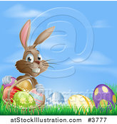 Vector Illustration of a Grinning Easter Bunny with Eggs and a Basket in Grass over Blue Sky by AtStockIllustration