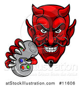 Vector Illustration of a Grinning Evil Red Devil Holding a Video Game Controller by AtStockIllustration