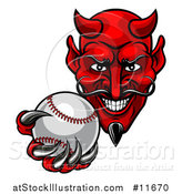 Vector Illustration of a Grinning Evil Red Devil Holding out a Baseball in a Clawed Hand by AtStockIllustration