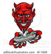 Vector Illustration of a Grinning Evil Red Devil Playing with a Video Game Controller by AtStockIllustration