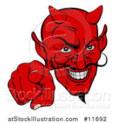 Vector Illustration of a Grinning Evil Red Devil Pointing Outwards by AtStockIllustration