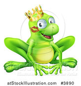 Vector Illustration of a Grinning Frog Prince with a Lipstick Kiss on His Cheek by AtStockIllustration