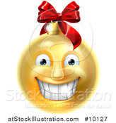 Vector Illustration of a Grinning Golden Christmas Bauble Ornament Emoji by AtStockIllustration