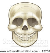 Vector Illustration of a Grinning Human Skull by AtStockIllustration