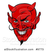 Vector Illustration of a Grinning Red Devil Face with a Goatee and Curling Mustache by AtStockIllustration