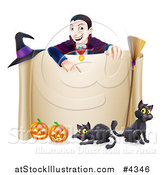 Vector Illustration of a Grinning Vampire Pointing down to a Halloween Scroll Sign with Black Cats Broomstick Witch Hat and Pumpkins by AtStockIllustration
