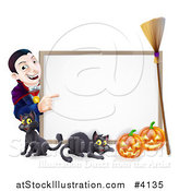 Vector Illustration of a Grinning Vampire Pointing to a Halloween Sign with a Black Cat Broomstick and Pumpkins by AtStockIllustration
