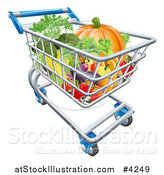 Vector Illustration of a Grocery Store Shopping Cart Full of Vegetables by AtStockIllustration