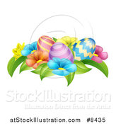 Vector Illustration of a Group of 3d Colorful Spring Flowers and Patterned Easter Eggs by AtStockIllustration