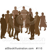 Vector Illustration of a Group of Silhouetted Brown People by AtStockIllustration