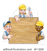 Vector Illustration of a Group of Workers Around a Blank Wooden Sign Sign by AtStockIllustration