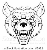 Vector Illustration of a Growling Black and White Aggressive Wolf Face by AtStockIllustration