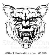 Vector Illustration of a Growling Black and White Vicious Wolf Face by AtStockIllustration