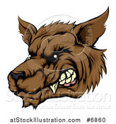 Vector Illustration of a Growling Brown Wolf Head by AtStockIllustration