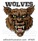 Vector Illustration of a Growling Brown Wolf Mascot Head and Text by AtStockIllustration