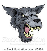 Vector Illustration of a Growling Fierce Wolf Mascot Head by AtStockIllustration