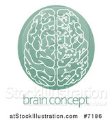 Vector Illustration of a Half Human, Half Artificial Intelligence Circuit Board Brain in a Green Oval, over Sample Text by AtStockIllustration