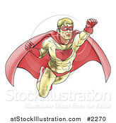 Vector Illustration of a Halftone Dotted Super Hero Flying by AtStockIllustration