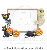 Vector Illustration of a Halloween Mummy and Bat Pointing to a White Board Sign with Pumpkins and Black Cats by AtStockIllustration