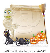 Vector Illustration of a Halloween Mummy Pointing to a Scroll Sign with Pumpkins Black Cats and a Broomstick by AtStockIllustration