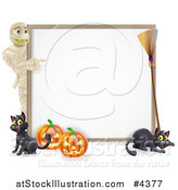 Vector Illustration of a Halloween Mummy Pointing to a White Board Sign with Pumpkins Black Cats and a Broomstick by AtStockIllustration