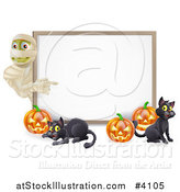 Vector Illustration of a Halloween Mummy Pumpkins and Black Cats Around a White Sign by AtStockIllustration