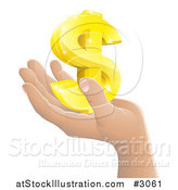 Vector Illustration of a Hand Holding a 3d Gold Dollar Symbol by AtStockIllustration