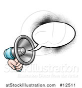 Vector Illustration of a Hand Holding a Megaphone with a Speech Bubble by AtStockIllustration