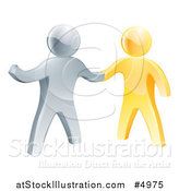 Vector Illustration of a Handshake Between 3d Gold and Silver Men by AtStockIllustration